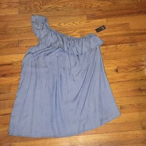Chambray One Shoulder Dress